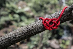 red heart made of yarn on a branch
